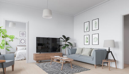 Scandinavian-living-room-powder-blue-couch-striped-rug